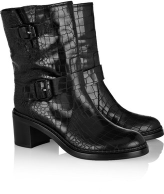 Casadei Croc-effect leather boots
