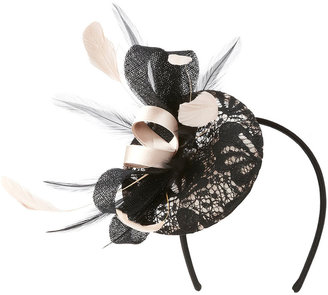 Black Lace Feather Disc Fascinator