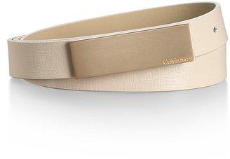 Calvin Klein Textured Lizard Pattern Wide Plaque Leather Belt
