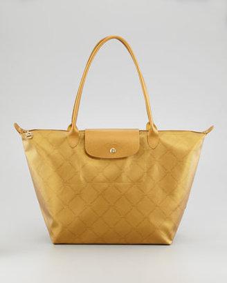 Longchamp LM Metal Shoulder Tote Bag, Gold
