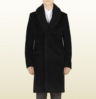 Gucci Black Wool Coat With Detachable Fur Collar
