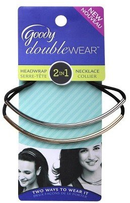 Goody Doublewear Goody® Double Wear™ 2 in 1 Headband and Necklace Black Elastic with Silver Bangle Overlay