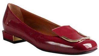Fendi carminio patent leather square heel loafers