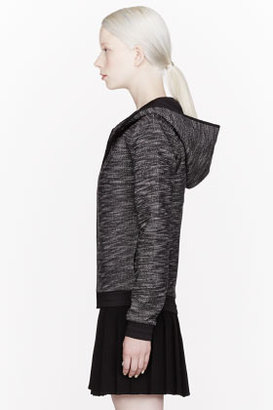 Alexander Wang Black French Terry Nylon-trimmed Zip Up Hoodie