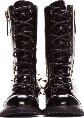 Giuseppe Zanotti Black Patent Leather Spiked Blok 40 Boots