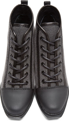 Opening Ceremony Black Canvas Leather-Trimmed Grunge Boots