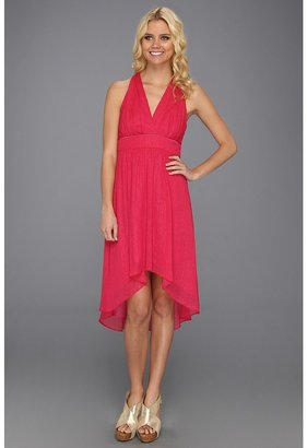 Nicole Miller Sparkle Georgette High-Low Vneck Dress (Berry) - Apparel