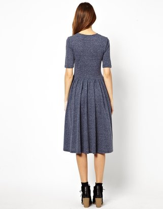 Asos Midi Dress In Nepi With 3/4 Sleeves