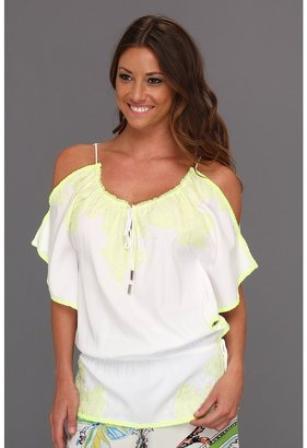 Hale Bob Beat The Heat Ariana Cold Shoulder Tunic (Neon Yellow) - Apparel
