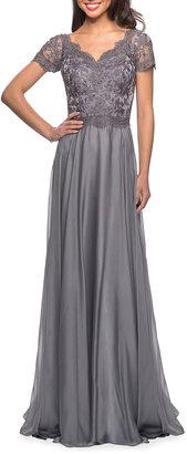 La Femme Lace Bodice Chiffon A-Line Gown
