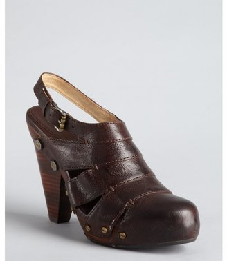 Frye brown leather 'Flora Stitch' stacked heel slingbacks