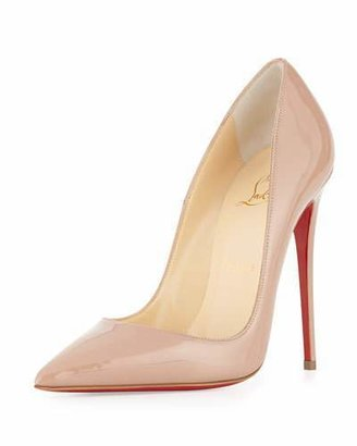 Christian Louboutin So Kate Patent 120mm Red Sole Pump, Nude $675 thestylecure.com