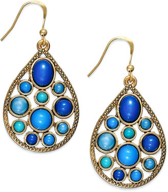Style&Co. Earrings, Gold-Tone Blue Bead Teardrop Earrings