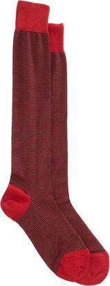 Barneys New York Fine Stripe Over the Calf Sock