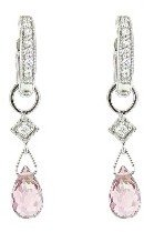 Jude Frances Pink Tourmaline Briolette Earring Charms - White Gold