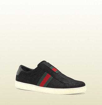 Gucci Black Suede Slip-On Sneaker