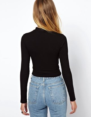 Asos The Turtleneck Crop Top with Long Sleeves