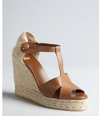 Castaner tan leather and jute t-strap 'Berth' espadrille wedge sandals