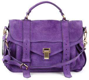 Proenza Schouler PS1 Suede Medium Satchel Bag, Purple