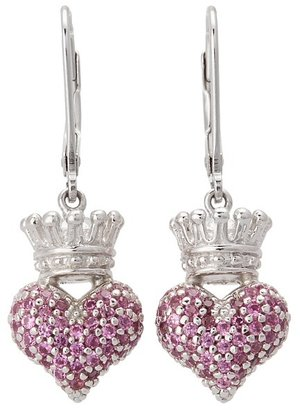 King Baby Studio - Small 3D Pink CZ Crowned Heart Earrings Earring $190 thestylecure.com