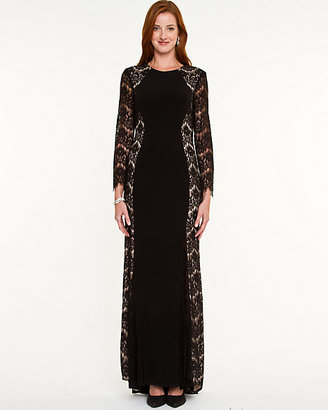 Le Château Lace & Knit Long Sleeve Gown