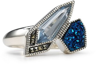 Judith Jack Sterling Silver Color Cascades Marcasite Sea Blue Druzy Ring