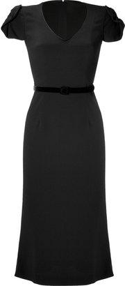 L'Wren Scott LWren Scott Black Silk-Blend Belted Sheath Dress