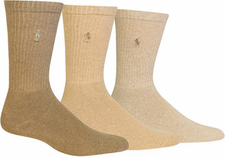Polo Ralph Lauren 3 Pack Ribbed Cushion Foot Crew Men Socks