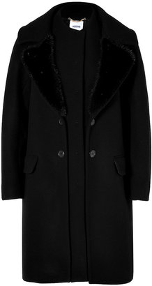 Moschino Wool Coat with Mink Trim