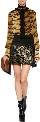 Just Cavalli Silk Top in Black/Yellow