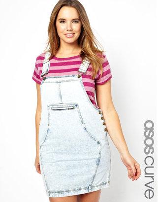Asos Denim Overall Dress In Acid Wash - Blue