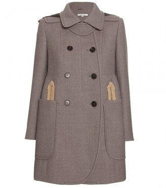 Carven WOOL COAT WITH FAUX LEATHER HOOD