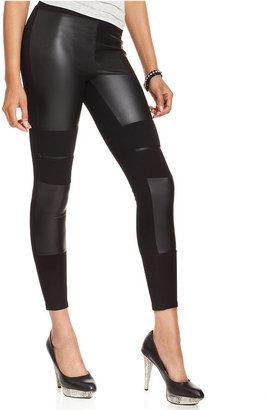 GUESS Pants, Faux-Leather Zipper Leggings