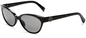 Cole Haan Women's C642 Rectangle with Metal Basketweave Button Sunglasses