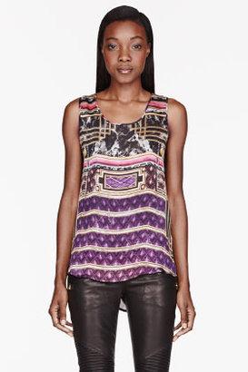 Balmain Purple & gold silk Printed Tank Top