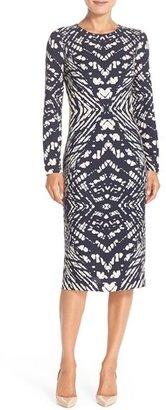 Women's Maggy London Tie Dye Print Crepe Midi Sheath Dress $138 thestylecure.com
