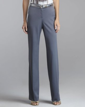 Shelley Stretch-Wool Pants, Pewter