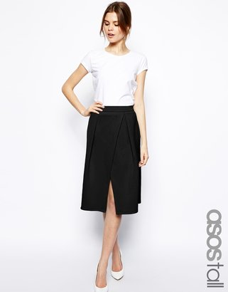 Asos TALL Midi Skirt With Crossover Front In Scuba