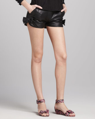 RED Valentino Bow-Detailed Leather Shorts