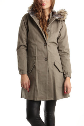 L'Agence Parka with Faux Fur in Khaki