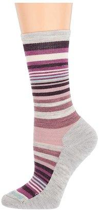 Smartwool Jovian Stripe (Deep Navy Heather/Meadow Mauve Heather) Women's Crew Cut Socks Shoes