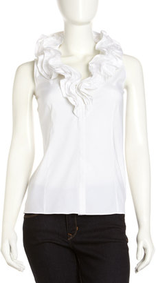 Lafayette 148 New York Studio 148 by Tessa Ruffle-Trim Blouse, White