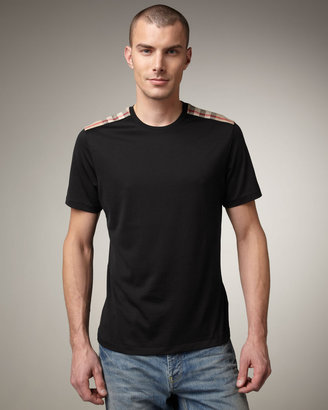 Burberry Check-Shoulder Tee, Black