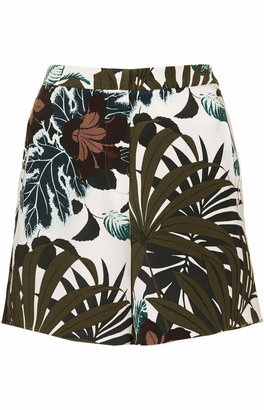 Topshop Jungle Print Silk Shorts by Boutique