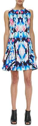 Milly Printed Flounce-Skirt Dress