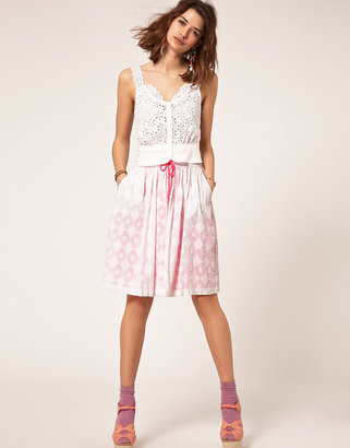 Asos Cotton Jacquard Skirt With Contrast Neon Lining