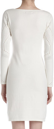 Catherine Malandrino Pointelle Knit Two-Layer V-Neck Dress, Ivory