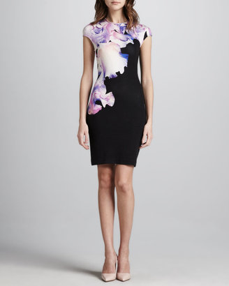 McQ by Alexander McQueen Orchid-Print Cap-Sleeve Dress