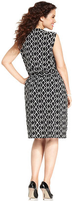 Jones New York Signature Plus Size Dress, Sleeveless Printed Belted