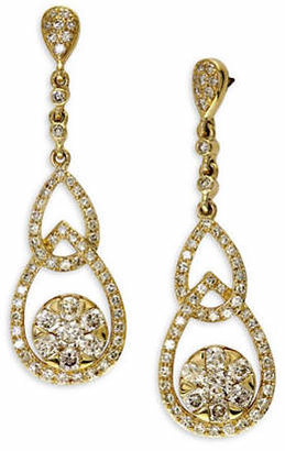 Effy Diamond 14K Yellow Gold Interlock Drop Earrings